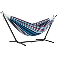 Vivere Double Cotton Hammock with Space Saving Steel Stand, Denim (450 lb Capacity - Premium Carry Bag Included)