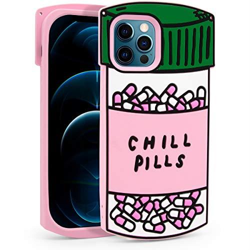 Megantree Niedliche Schutzhülle für iPhone 12 Pro Max, lustige Chill-Pillen-Kapselflasche, 3D-Cartoon-Design, weiches Silikon, Rundumschutz, stoßfest
