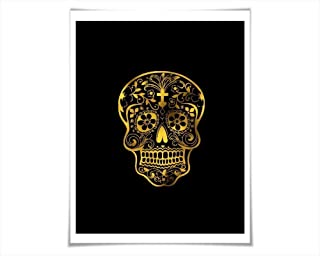 Mexican Sugar Skull Gold Foil Art Print, Day of the Dead Poster. 36 Background Colours/3 Sizes.