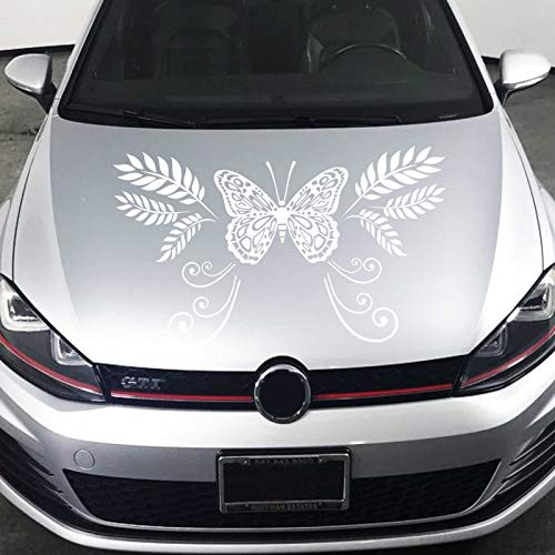 JINTORA Sticker - Autocollant De Voiture Tendril De Papillon 100cm x 59cm Blanc - réglage Lunette arrière Voiture - Style de Voiture