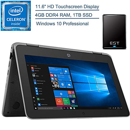 """2020 HP ProBook x360 11.6"""" 2-in-1 LED Touchscreen Business Laptop Computer, Intel Quad-Core Celeron N4100 Up to 2.4 GHz, 4GB DDR4, 1TB SSD, Windows 10 Professional + EST 500GB External Hard Drive"""