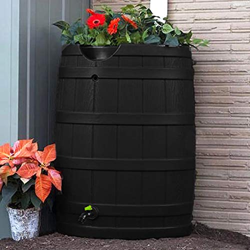 Good Ideas GI-REC-RW65-BLK Wizard Eco 65 Gallon Rain Barrel, Black