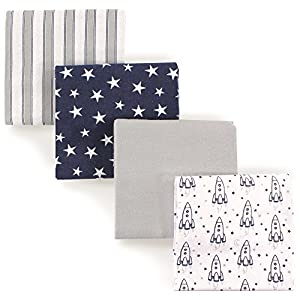 crib bedding and baby bedding hudson baby unisex baby cotton flannel receiving blankets, rocket ship, one size