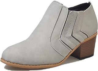 2777e3bc Botines Mujer Tacón Medio, Chelsea Piel Elásticos 5 Cm Zapatos De Botas  Comodos Fiesta Vintage