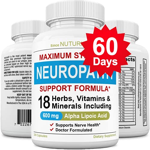 (60 Days) Neuroturna Support Supplement with 600 mg Alpha Lipoic Acid Daily Dose - Peripheral Neuropathy - Feet Hand Legs Toe Support Formula with 18 Premium Ingredients* - 240 Caps, 60 Days Supply