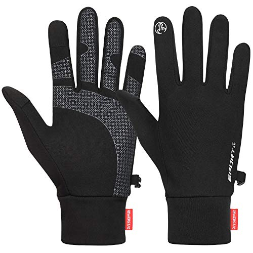 Cevapro Running Gloves Touch Screen Gloves Lightweight Winter Gloves Men Women (Black, L)