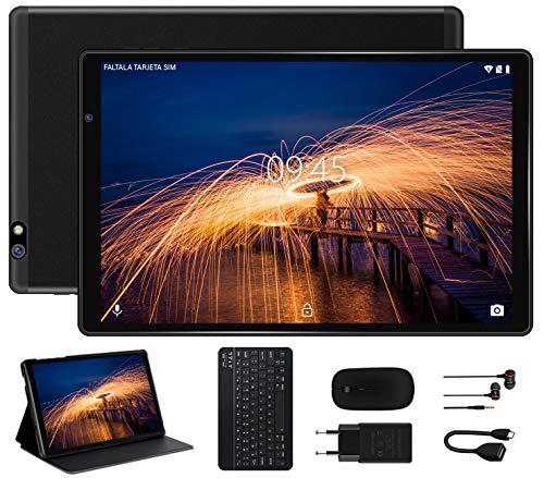Tablet 10 Pulgadas FACETEL Q3 Android 9.0 4GB de RAM y 64 GB de ROM,5MP+8MP Cámara Tablet PC Batería de 8000mAh,Certificación Google gsm,WiFi,GPS,OTG,FM,Bluetooth-Negro