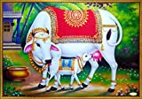 PAPER PLANE DESIGN Hindu Religious Kamdhenu Cow with Calf Unframed Wall Poster