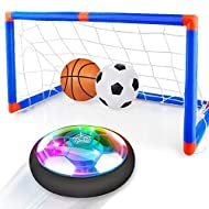 Baztoy Hover Football Goal Set, Kids Toys Rechargeable Air Power Soccer Ball Led Light with Inflatab...