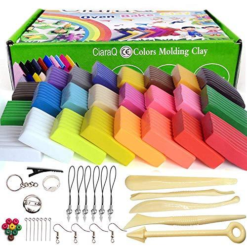 CiaraQ Polymer Clay - 24 Farben 600g/1.32lb Ofen Backen Polymer Clay Set, Set Nontoxic DIY Kinder Knete Set gehören 5 Modellierwerkzeug und Schmuck Zubehör, Kinder