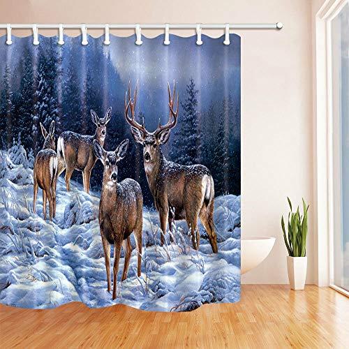 Nyngei Winter-Duschvorhang mit Hirsch-Motiv, 183 x 183 cm