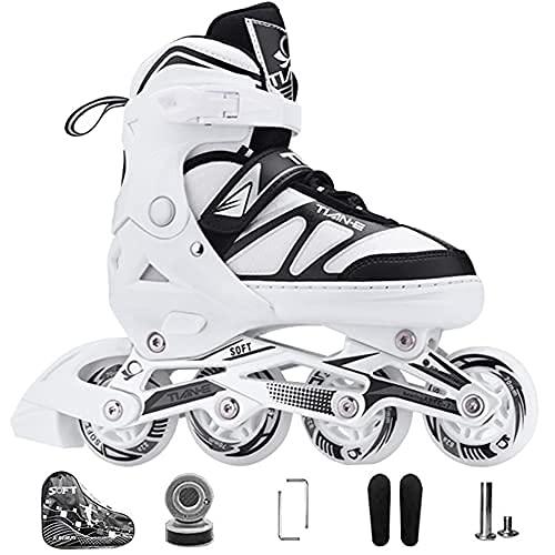 Kinder Herren Damen Inliner Inlineskates ABEC-7 Chrome Kugellager Einstellbare Unisex Fitness Skates für Erwachsene Anfänger mädchen Jungen (White, XL(42-45))