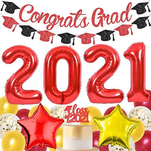 Decoraciones de graduación 2021 rojo y dorado suministros de fiesta de graduación 2021 rojo - clase de 2021 decoración para tartas Felicidades Grad Decoraciones Banner Garland Star Foil Globos