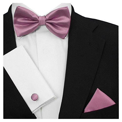 GASSANI 3-SET Rosa Violett Fliege Grid Karo kariert   Schleife Manschettenknöpfe Einstecktuch   Fliegenset zum Anzug Seide-Optik