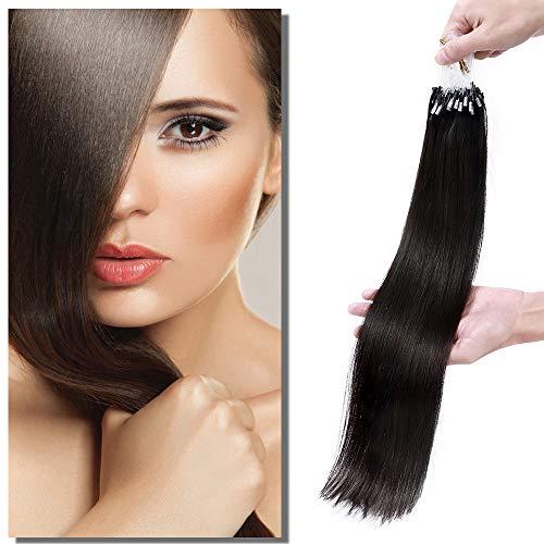 Extension Cheveux Naturel a Froid Micro Anneaux Loops - Rajout Cheveux Humain 100 Mèches 50g (#1B NOIR NATUREL, 40 cm)