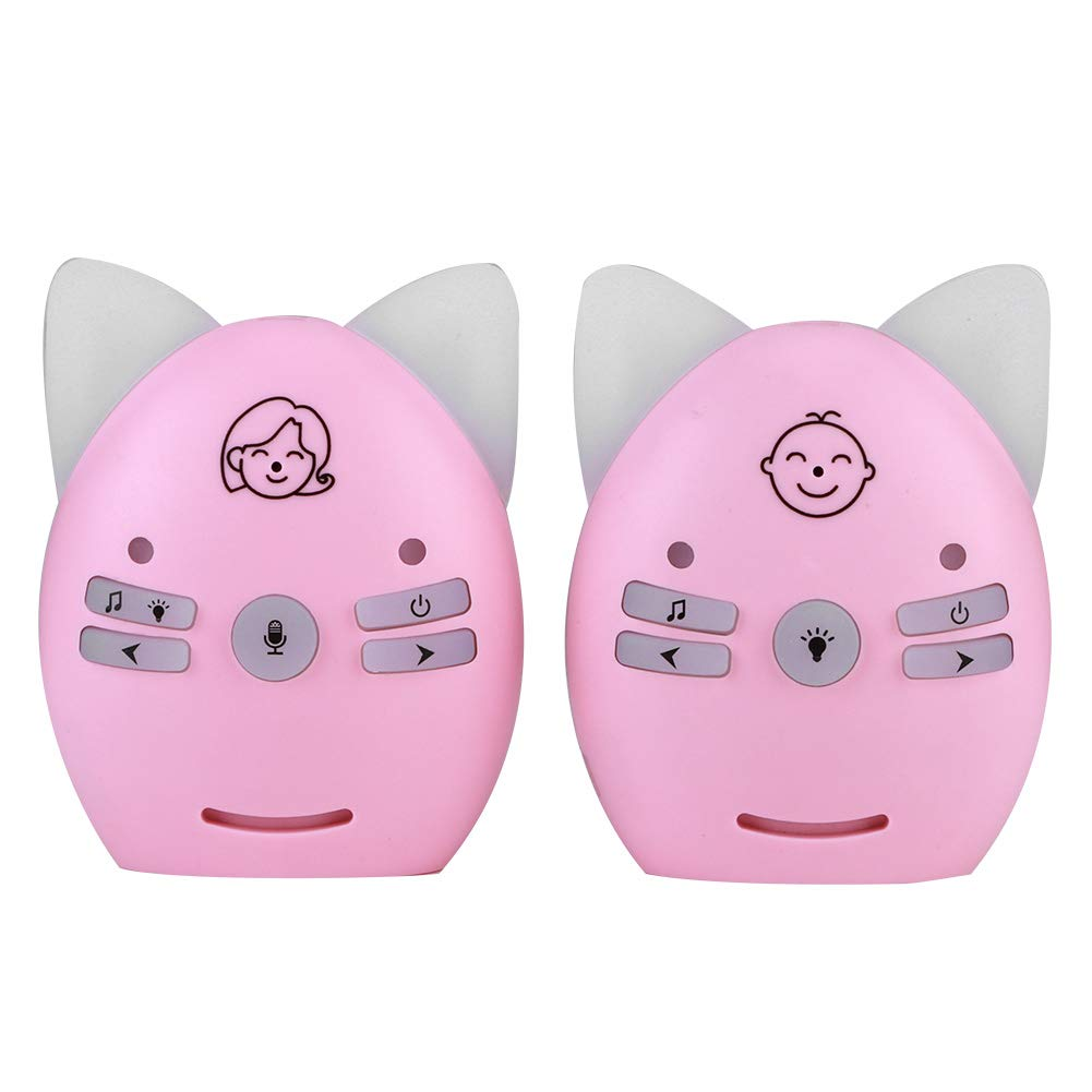 Audio Baby Monitor, 2.4G Wireless Baby Safety Monitor with Music and Night Light, Walkie Talkie Baby Sleep Helper(US-Pink)