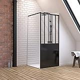 Pack de mampara de ducha de 90 x 200 cm, color negro mate + plato alto de mesa 90 x 90 cm – blanco efecto piedra