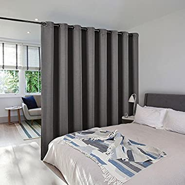 NICETOWN Room Dividers Shade Screens Partitions, Extra Large Grommet Top Space Partition Blackout Curtain, Screen Dividers for Rooms (1 Pack, 15ft Wide x 9ft Long,Grey)