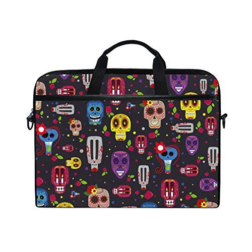 JOYPRINT Laptop Sleeve Case, Mexican Halloween Floral Sugar Skull 14-14.5 inch Briefcase Messenger Notebook Computer Bag with Shoulder Strap Handle for Men Women Boy Girls