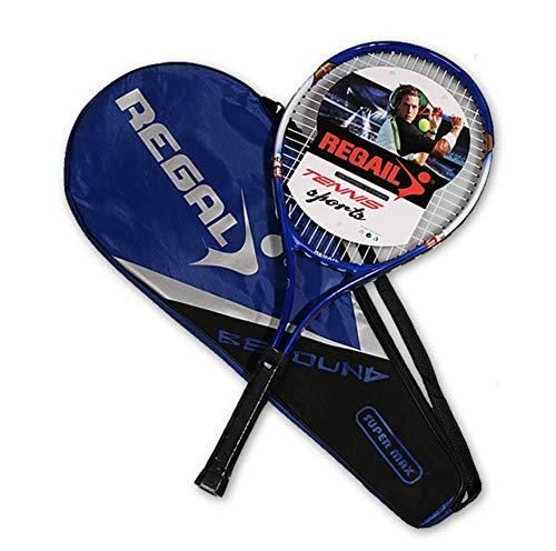 ZTT Raqueta De Tenis para Adultos, Raqueta De Tenis De Entrenamiento Avanzado Junior De Aleación De Aluminio, Raqueta De Tenis Individual, con Bolsa Oxford De Algodón De Tres Capas,Azul