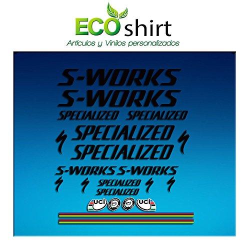 Ecoshirt 46-W1LL-5ODA Pegatinas Stickers S Works Specialized Aufkleber Decals Autocollants Adesivi R84, Negro