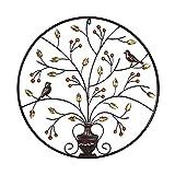 JXINGY Árbol de La Vida Montado En La Pared de Pájaro, Decoración de Arte de Pared de Árbol de Metal, Escultura Rústica para Colgar En La Pared, Placa de Pared de Porche