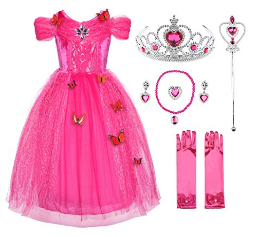 JerrisApparel Flower Girls Dress Princess Costume Butterfly Girl (6 Years, Pink with Accessories)