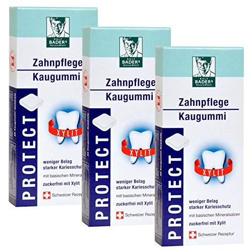 BADERs PROTECT Zahnpflege-Kaugummi aus der Apotheke. Weniger Zahnbelag, weißere Zähne. Testsieger Vergleich.org. Zuckerfrei mit 100% Xylit. 3 x 20 Kaugummi-Quadrate