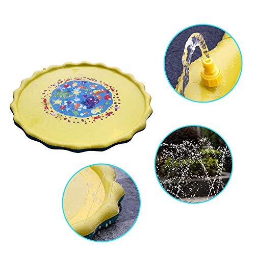 Wokee Aspersion d'eau pour Enfants et Splash Pad Jouer Tapis de diamètre saupoudrer rempli de Jouets intéressants Coussin d'eau (Jaune)