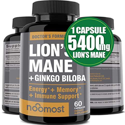 Organic Lions Mane Mushroom Capsules 5400mg, Ginkgo Biloba 120mg - Lion's Mane Ginko Biloba Memory Supplement for Nootropic Brain & Mental Clarity, Ginko Smart Maximum Focus and Memory, 2-Month Supply
