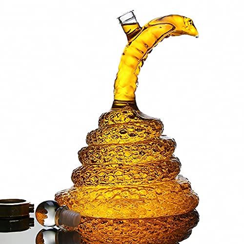 NZQLJT Decantador De Whisky, Decantador De Vidrio para Whisky 1000ml con Tapón Hermético, Decantador De Vidrio para Licor Serpiente Sin Plomo para Whisky, Brandy, Vodka, Ginebra