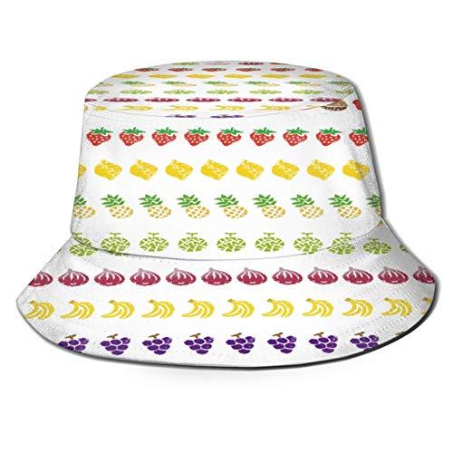 Sombrero Pescador Unisex,Cenefa Decorativa Líneas Mango Star Fruits,Plegable Sombrero de Pesca Aire Libre Sombrero Bucket Hat para Excursionismo Cámping De Viaje Pescar
