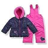 Arctic Quest Toddler Girls Metallic Rainbow Heart Print Snowsuit Fleece Lined Hooded Jacket and Bib Set, Navy Blue & Pink, 3T