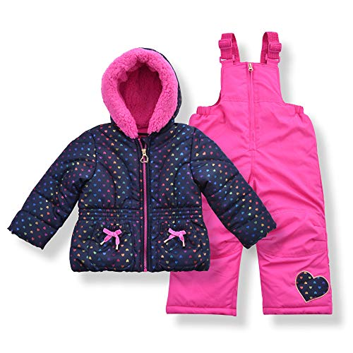 Arctic Quest Toddler Girls Metallic Rainbow Heart Print Snowsuit Fleece Lined Hooded Jacket and Bib Set, Navy Blue & Pink, 2T-