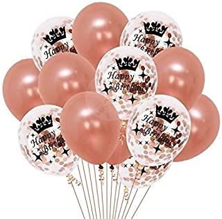 Party Propz Attractive Rose Gold Latex and Confetti Balloons (Set of 30 Pcs)