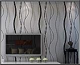 Moderno minimalista no tejido patrón de onda papel tapiz efecto estéreo línea de la cintura TV cama de fondo pared dormitorio papel pintado rollo,Darkgray,10m*0.53m