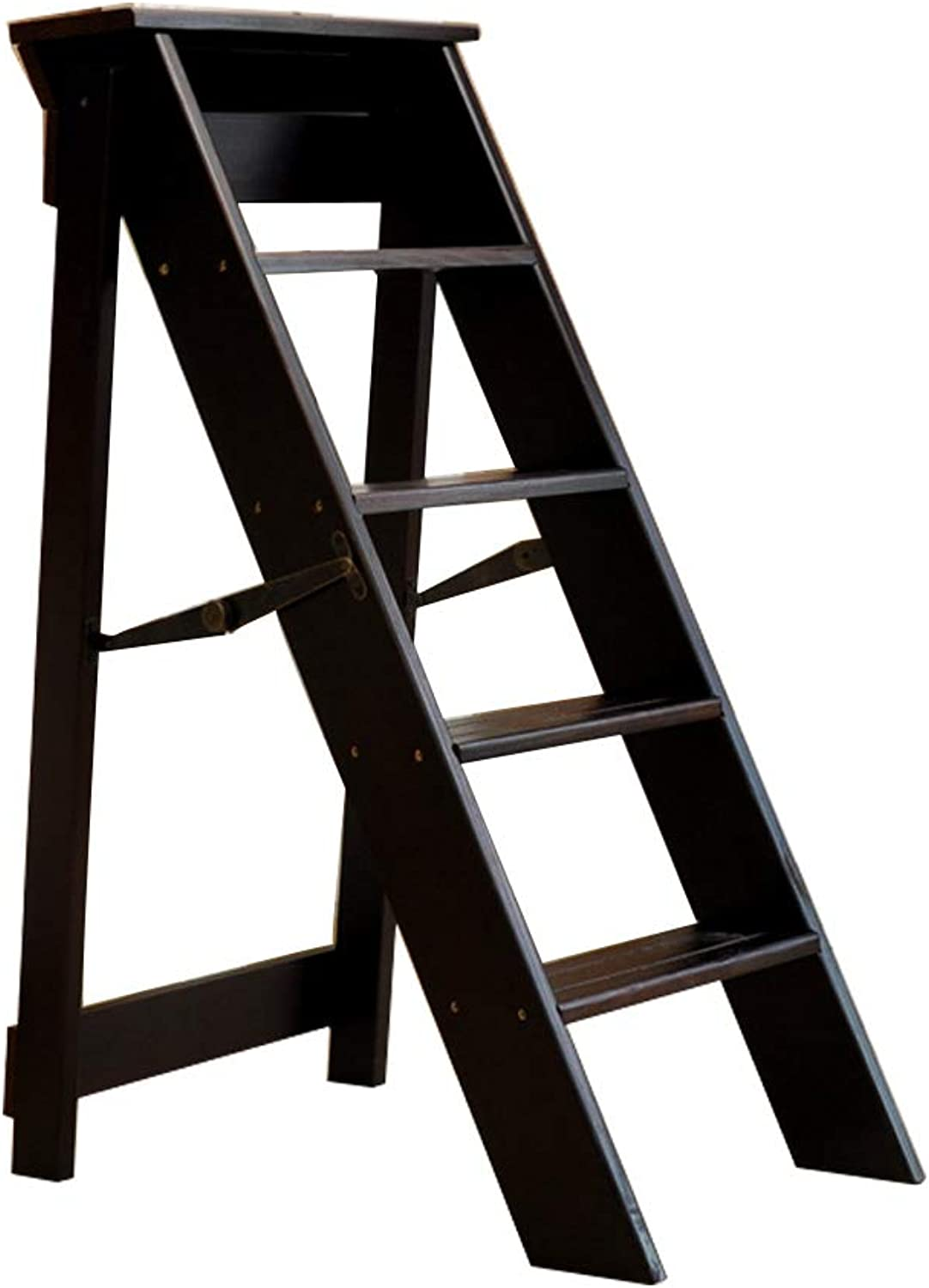 Wooden Folding Step Stool Portable Ladder Chair Stool Multifunction Stepladder Stairway Chair for Home Library 5 Steps Max 150kg Black Walnut
