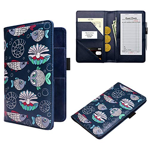 WALNEW Waitress Book Server Wallet Waiter Book Guest Check Pad Holder with Money Pocket Pen Holder for Restaurant Waitstuff Fits Server Apron, Fish
