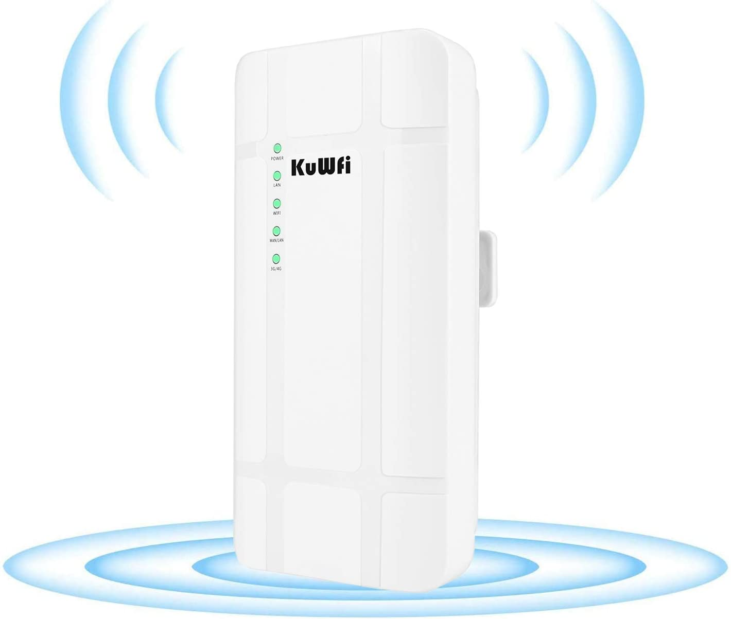 KuWFi 300Mbps Waterproof Outdoor 4G LTE CPE Router with POE Adapter CAT4 LTE Routers 3G/4G SIM Card WiFi Router for IP Camera/Outside WiFi Coverage (EU Version B1/B3/B7/B8 /B20)