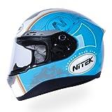Nitek P1フルオートバイストリートヘルメット(レトロブルーグラフィック、X-Large)