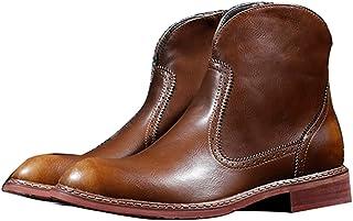 シークレットブーツ 本革 ロングノーズ サイドジップ ショートブーツ 靴 ビジネスシューズ メンズ 革靴 紳士靴 男性用 ブラック ブラウン ワインレッド プレーントゥ トールシューズ チェルシーブーツ