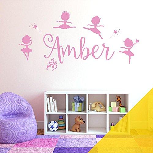 Autocollant mural personnalisable pour fille – Disney Baby Ballerine Little Princesse, Ballerine, Ballerine, Baguette, étoile, Panneau vinyle, Jaune moyen., Name Size: Large (950 x 290mm)