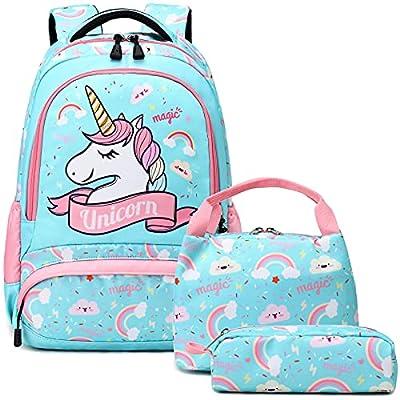 Mochila Unicornio Niños Impermeable Mochila Escolar para Adolescente Pequeñas Mochilas Infantil Bolso para Chicas para La Escuela,Viajes,Intemperie Juego de 3 - Menta Verde