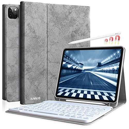 Tastiera per iPad Pro 11 2020/2018 Custodia, Tastiera Italiana per iPad 11 Pollici 11 2020 con Senza Fili, Riattivazione / Disattivazione Automatica, Supporto per Apple Matita e Ricarica (Grigio)