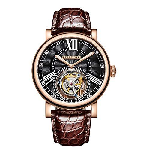 REEF TIGER Herren Uhr analog Handaufzugwerk mit Leder-Alligator Armband RGA1999-PBS