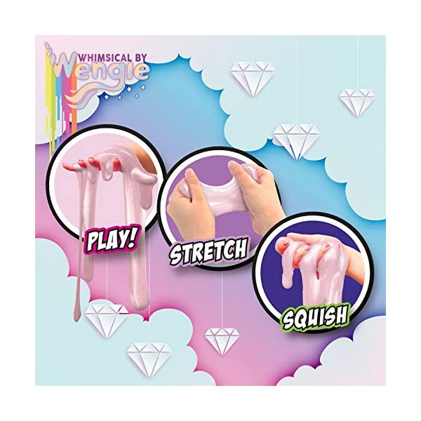 Wengie Whimsical Scented Slime Kit w/ Mystery Unicorn Charm - 4 Pack Glossy Fluffy Puffy Cloud Fruity Slime for Girls… 5
