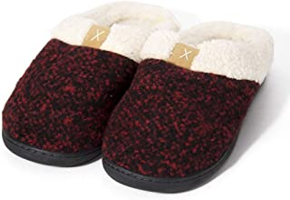 Men's Cozy Memory Foam Slippers with Fuzzy Plush Wool-Like Lining Slip on Clog House Shoes with Indoor Outdoor Anti-Skid Rubber Sole,Red,39EU