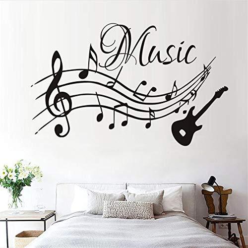 sanzangtang Hochwertige Musiknoten Musik Wandaufkleber abnehmbare Wohnzimmer Kindergarten Heimdekoration Gitarre Wandtattoos,