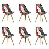 Designetsamaison Lot de 6 chaises scandinaves Patchwork - Prague