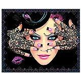 Diy completo redondo diamante pintura punto de cruz maquillaje mujer mosaico bordado pantalla completa rhinestone decoración del hogar sin marco-20X25cm